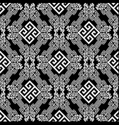 black and white geometric tribal greek seamless vector image