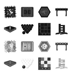 board game blackmonochrome icons in set vector image