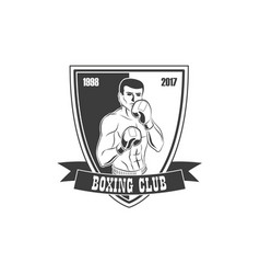 boxing club logo icon with boxing man vector image