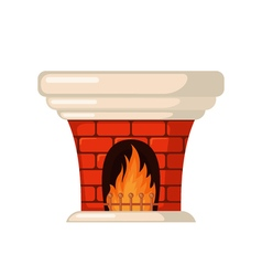 Brick fireplace icon in flat style vector image