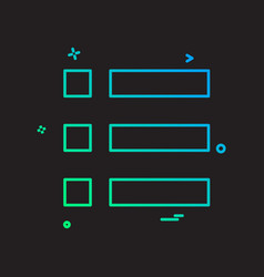 Bullet list menu options icon design vector