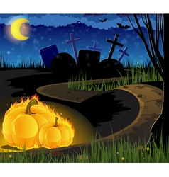 Burning pumpkins on the old cemetery vector image