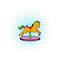 Carousel horse icon comics style vector