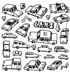 cars - doodles set vector image