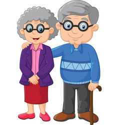 cartoon elderly couple isolated on white backgroun vector image