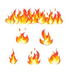 Cartoon fire flames set and line vector