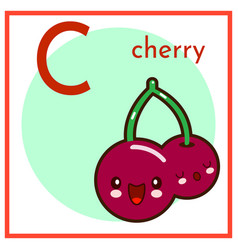 cartoon fruit alphabet flashcard c is for cherry vector image