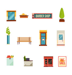 City street icons set flat style vector