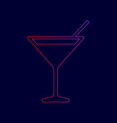 cocktail sign line icon with vector image