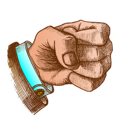 Color male hand make fist gesture vector