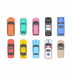 Colorful different cars top view vector