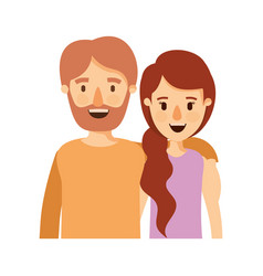 colorful image caricature half body couple woman vector image