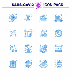 coronavirus prevention set icons 16 blue icon vector image