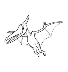 cute cartoon dinosaur pteranodon character vector image
