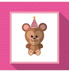 Cute festive animal with party hat image vector