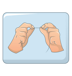 dental floss in hands concept background cartoon vector image