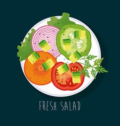 Dish with fresh salad healthy food vector