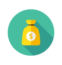 Dollar Money Bag Flat Circle Icon vector
