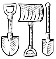 doodle shovels vector image