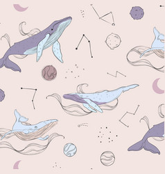 Doodle whales and planets vector