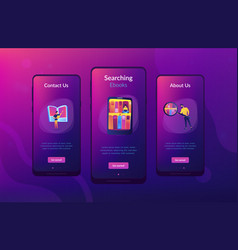 E-library app interface template vector
