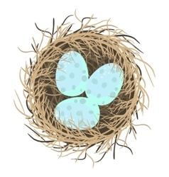 Easter eggs in nest on white vector