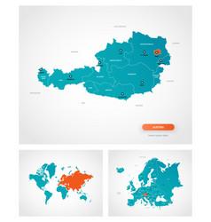 Editable template map austria with marks vector