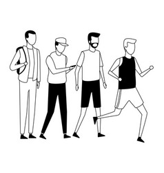Faceless group guys walking black and white vector