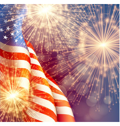 fireworks background for 4th july independense vector image
