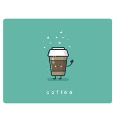 flat icon friendly coffee box character vector image