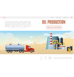 flat oil industry web page template vector image