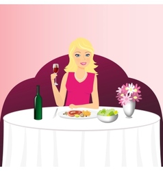 Girl in restaurant vector