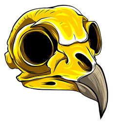 Gold eagle skull on white background vector