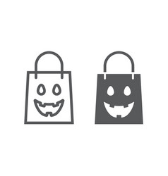 halloween shopping bag line and glyph icon vector image