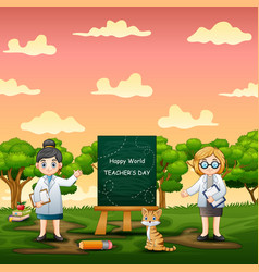 happy world teachers day background with two women vector image