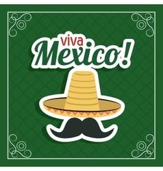 Hat and mustache icon Mexico culture vector