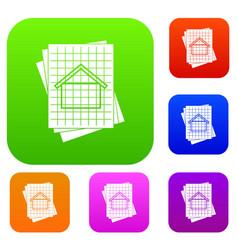 house blueprint set collection vector image