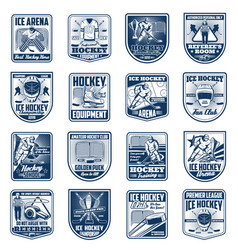 ice hockey sport isolated icons vector image