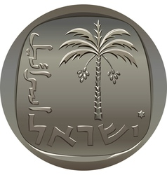 Israeli coin 10 ten agora with the image of the da vector