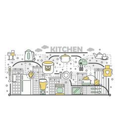 kitchen concept flat line art vector image