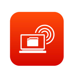 laptop and and wireless icon digital red vector image