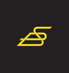 letter sb linked overlapping lines logo vector image