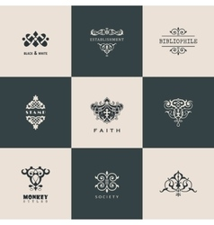 Logos set Calligraphic patterns book vector image