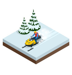 Man driving sports snowmobile in a sunny day vector