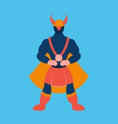 Man superhero superhero standing icon in flat vector