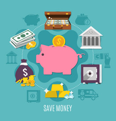 money colored and flat composition vector image