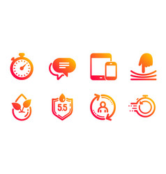 Organic product user info and elastic icons set vector