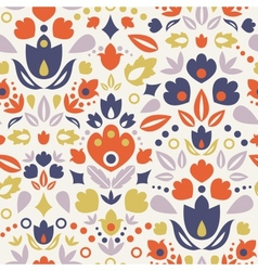Ornamental folk tulips seamless pattern background vector