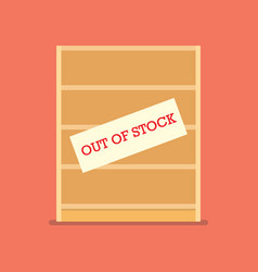 Out of stock sign on wooden shelves vector