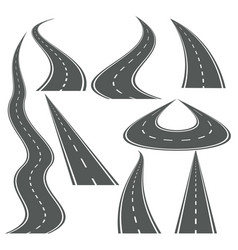 Perspective curved roads set vector